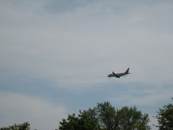 Plane getting ready to land seen from Lake Nokomis