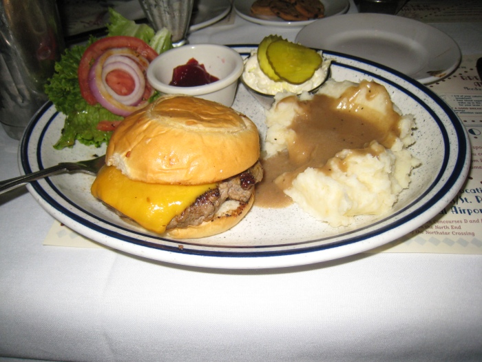 My meal - Turkey burger with mashed potatoes and cranberries